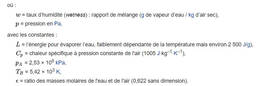 Une formule mathématique pour calculer la température humide.